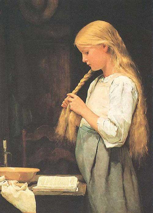 Девочка, заплетающая косы - дочь художника, Мари Анкер (1885)