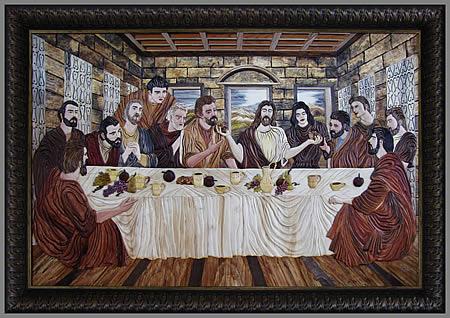 Тайная вечеря (The Last Supper). Маркетри. Натуральный шпон.